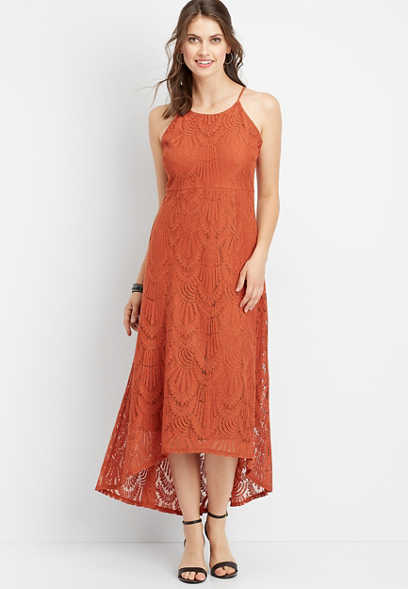 halter neck lace maxi dress