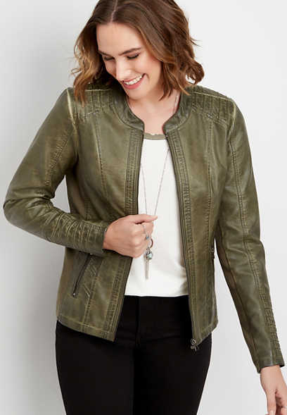 olive faux leather princess seam jacket
