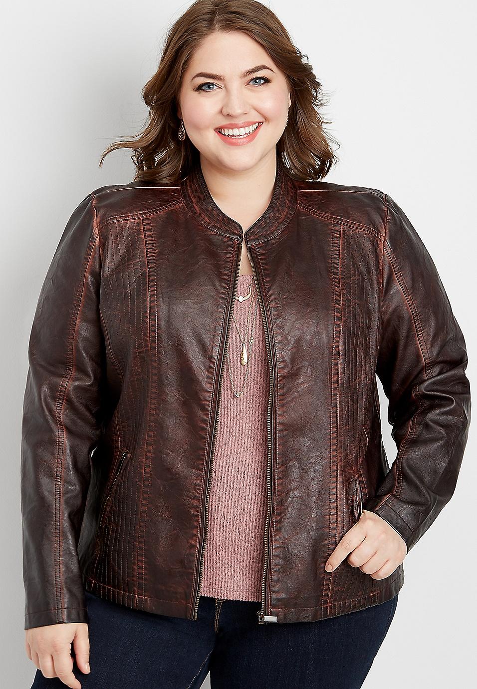 plus size washed faux leather princess seam jacket