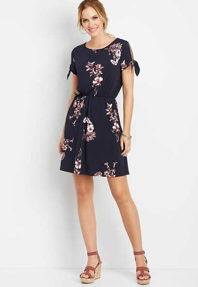 pleated front floral dress