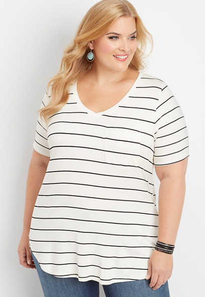 plus size 24/7 v-neck striped tunic tee