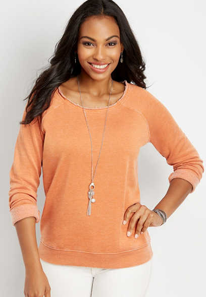open neck solid pullover