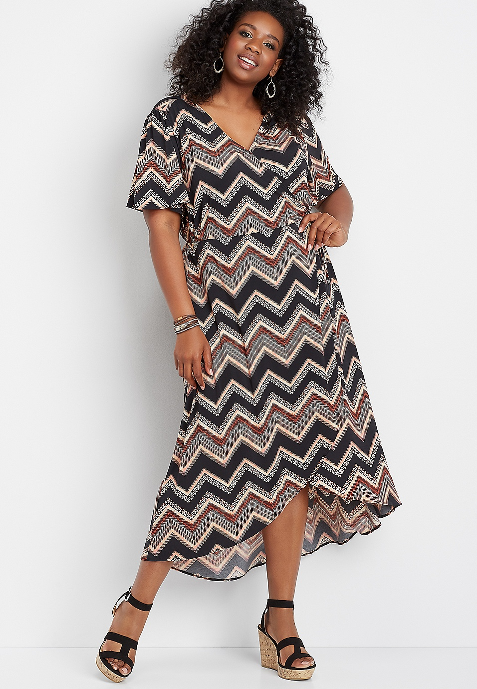 plus size chevron wrap front dress