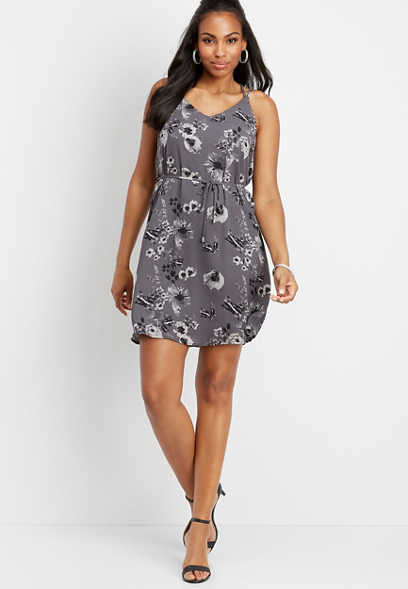 floral tie front v-neck dress