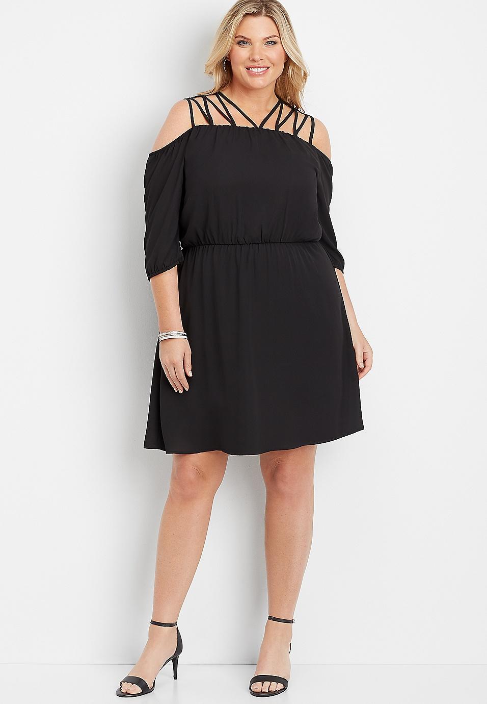 plus size 3/4 sleeve lattice top dress