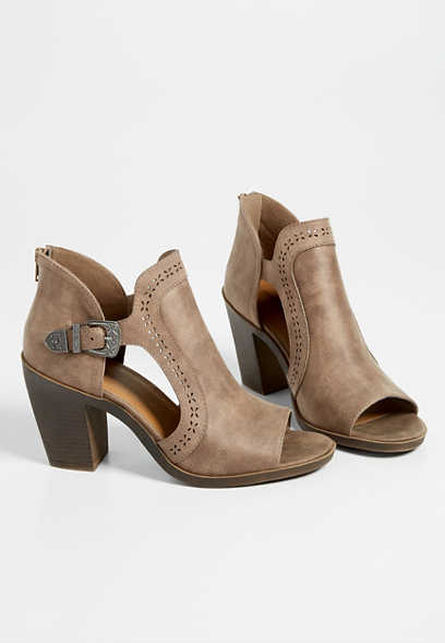 Rumor open toe side buckle bootie