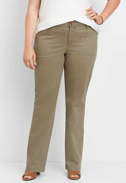 plus size chino slim bootcut pant