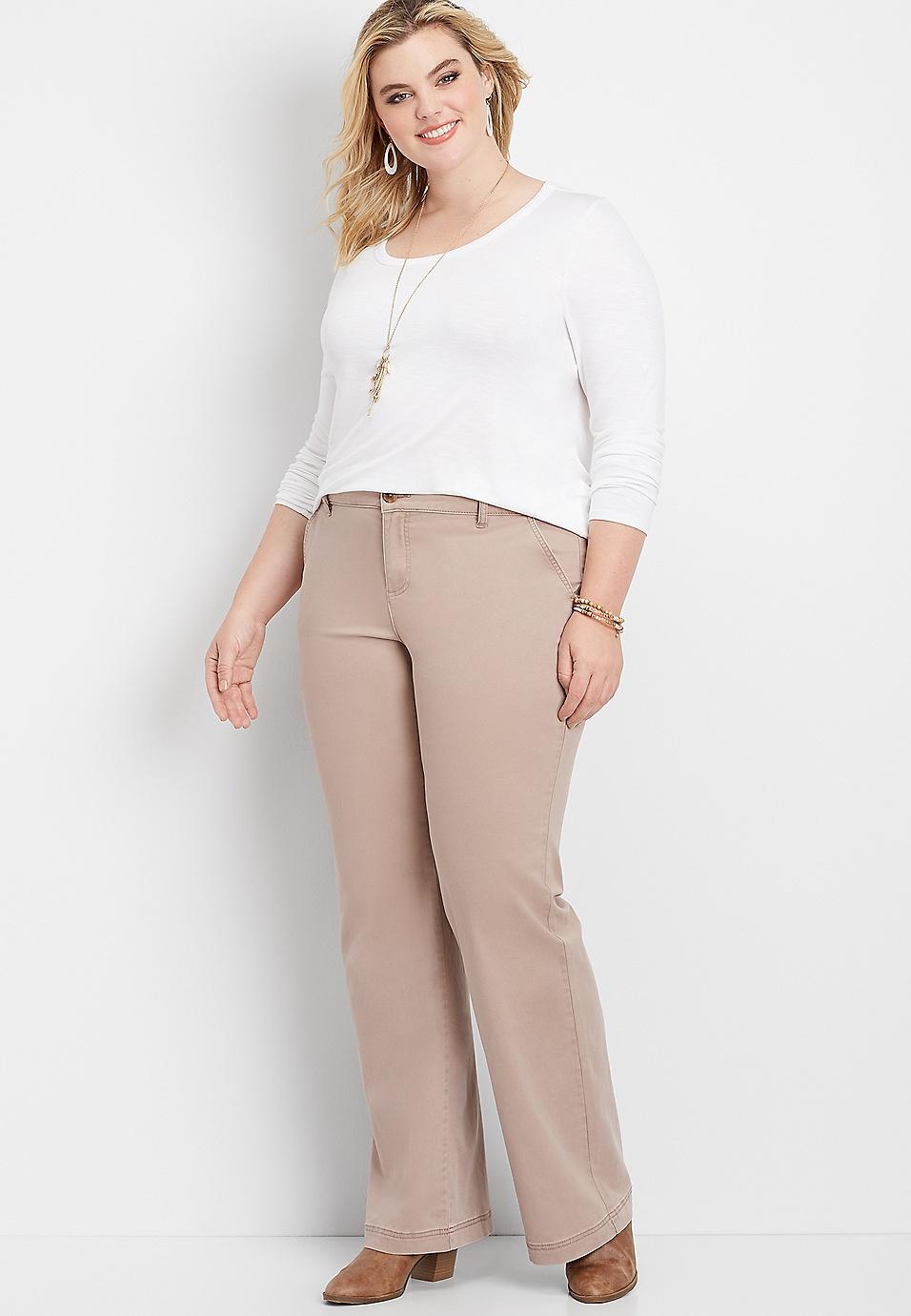 plus size wide leg stretchy chino pant