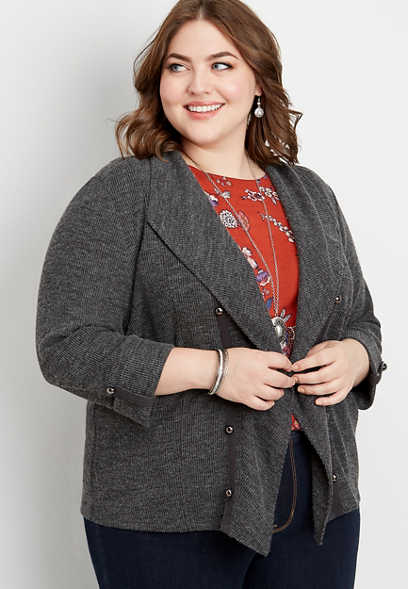 plus size solid cascade front military cardigan