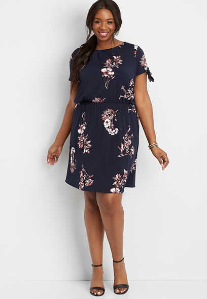 plus size pleated front floral dress