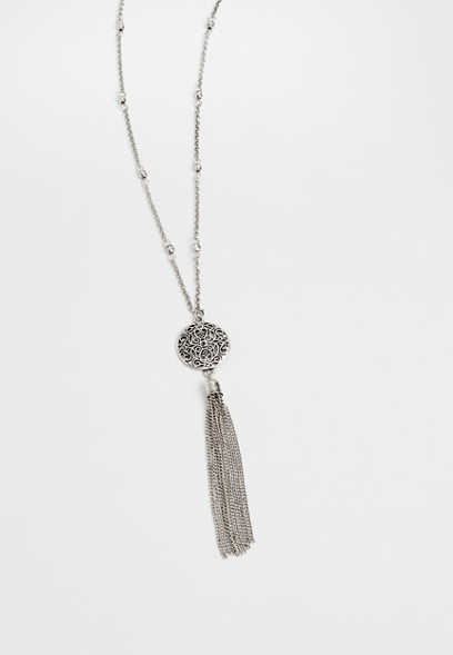 tassel rhinestone medallion necklace