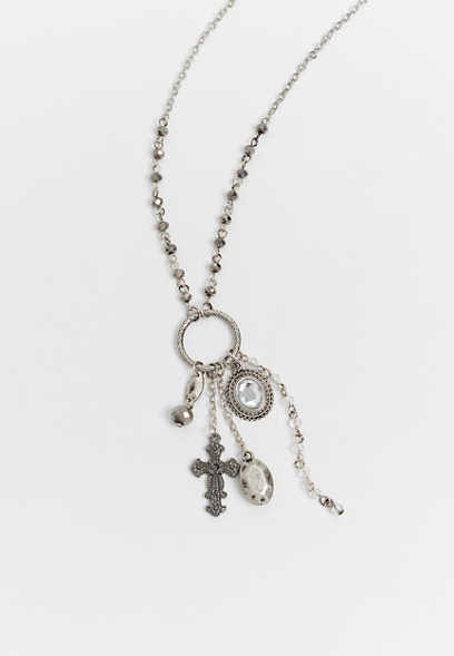 beaded cross cluster necklace