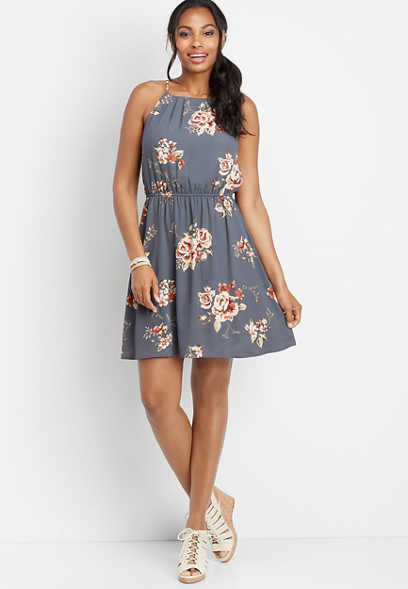 floral gathered neck dress