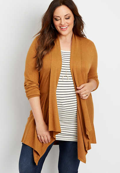 plus size solid long sleeve waterfall cardigan