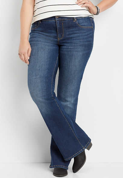 plus size DenimFlex™ medium wash flare jegging