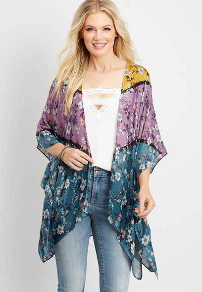 open front colorblock floral ruana