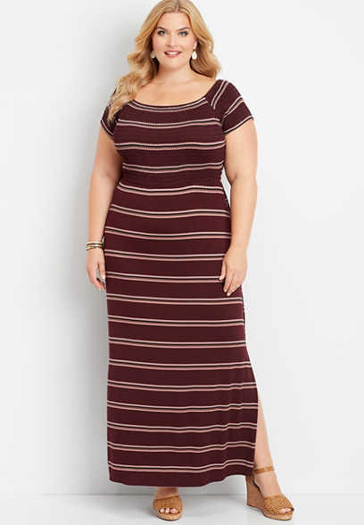 plus size 24/7 stripe smocked maxi dress