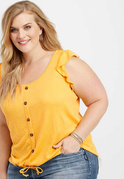 plus size button down tie waist tank
