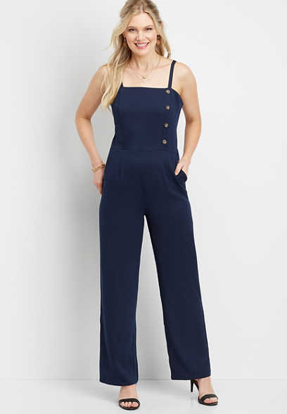 solid button down jumpsuit