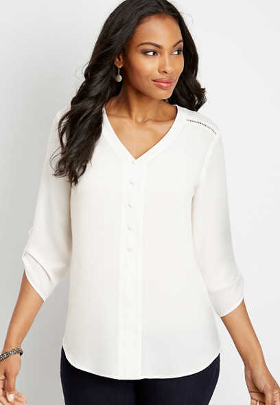 lattice shoulder button front tunic blouse