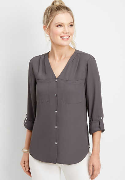button front pocket blouse
