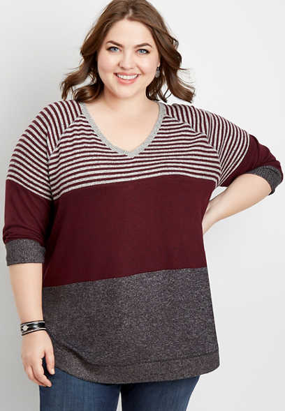 plus size stripe colorblock round hem pullover