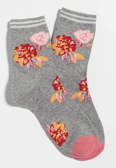 large floral short crew socks