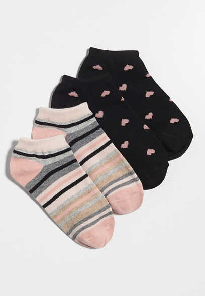 2 pack heart and stripe ankle socks