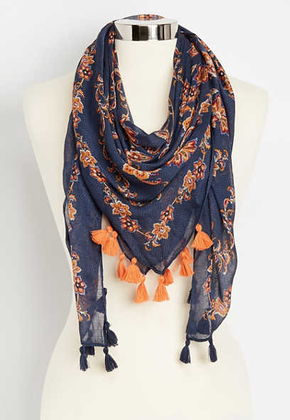 paisley floral square scarf with tassels