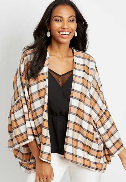 exaggerated sleeve plaid ruana