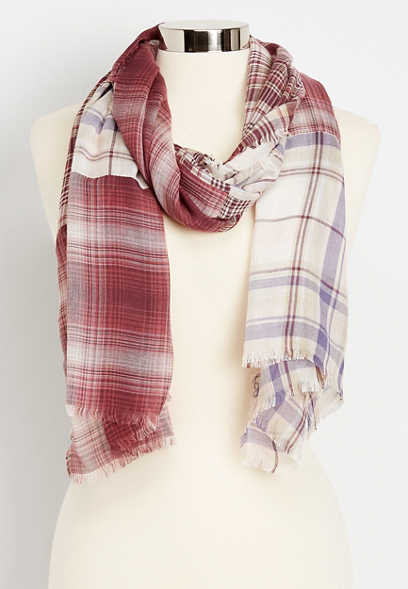 patchwork plaid oblong scarf