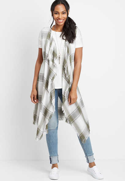 long plaid open front vest