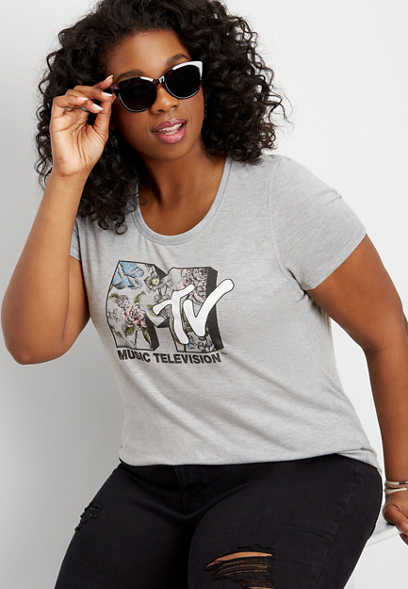 plus size MTV floral fill graphic tee