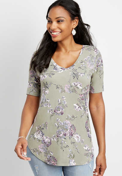 24/7 floral v-neck tunic tee