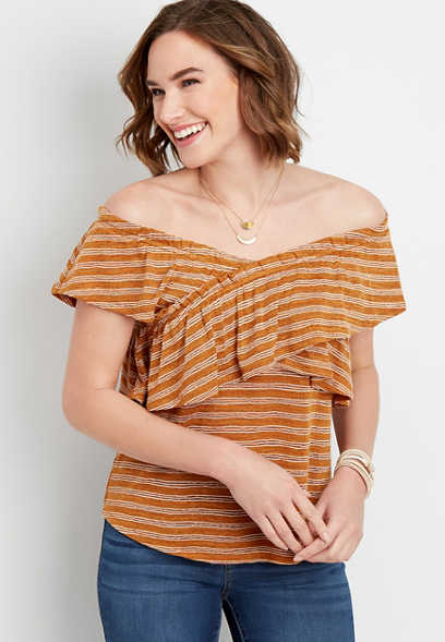ruffled stripe criss cross top