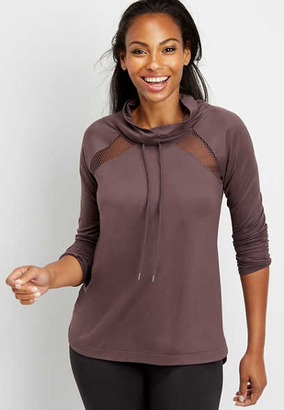 solid active cowl neck pullover