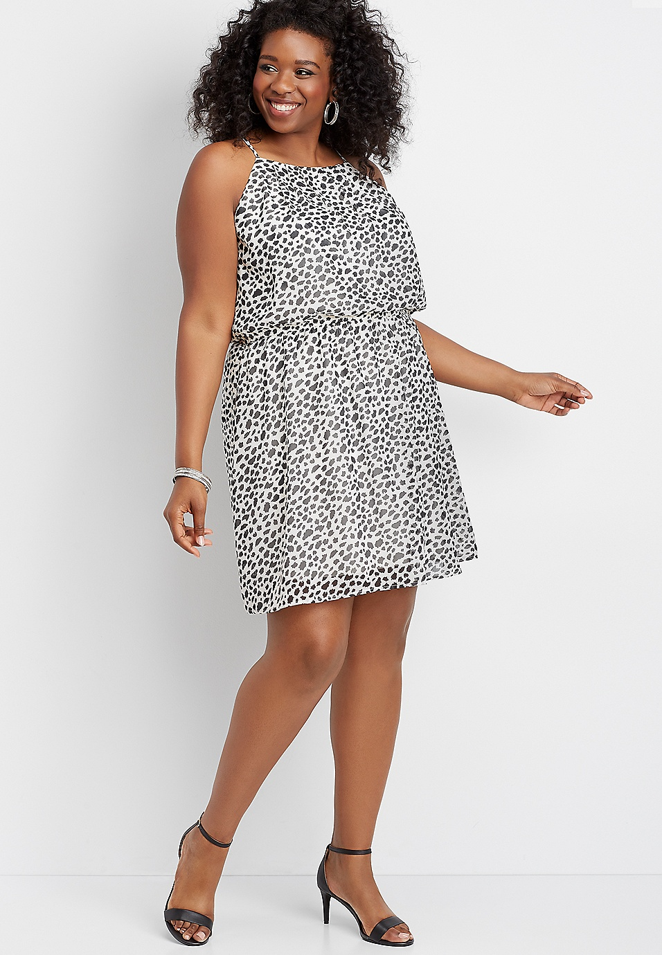 plus size animal print keyhole back dress