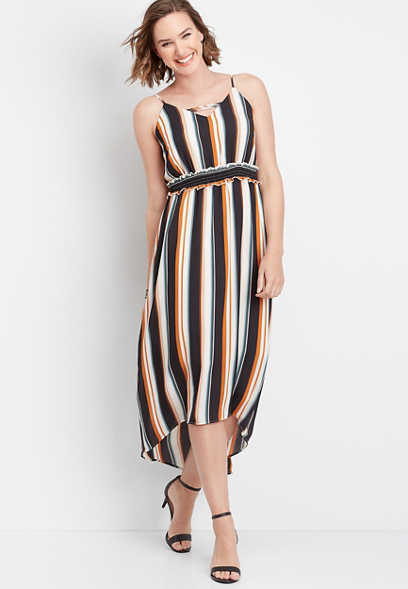strappy neck stripe maxi dress