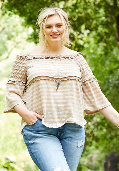 plus size striped smocked off the shoulder top