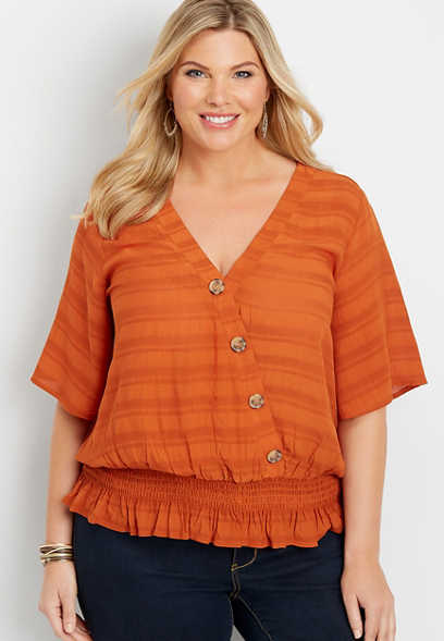 plus size button front smocked top