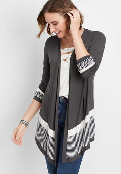 long sleeve striped colorblock cardigan