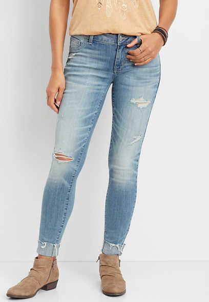 DenimFlex™ Light Wash Destructed Cuff Jegging