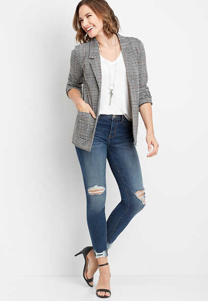 menswear plaid open front blazer