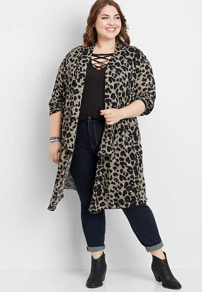 plus size animal print duster cardigan