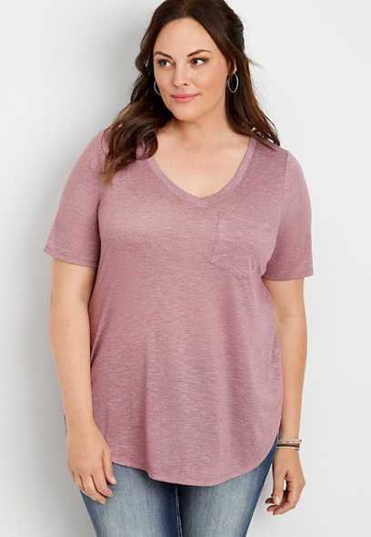 plus size 24/7 v-neck tunic tee