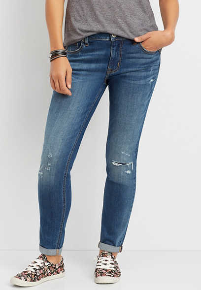 DenimFlex™ dark blast destructed roll hem boyfriend jean