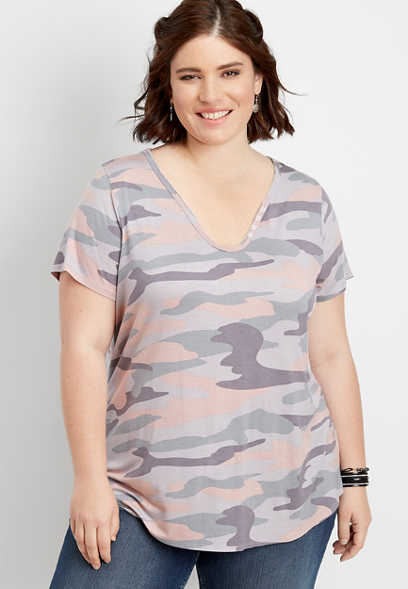 plus size 24/7 camo burnwash tee