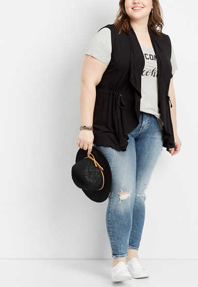 plus size solid drawstring vest