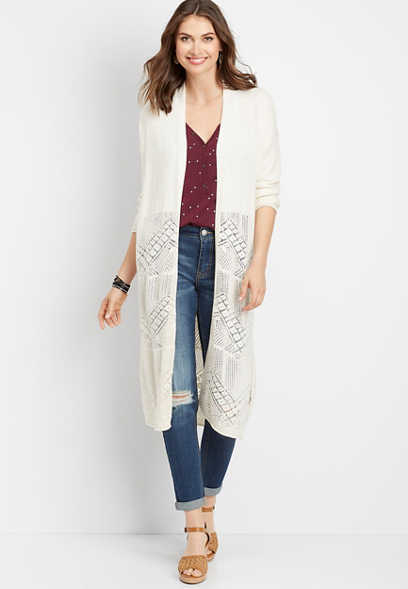 placed pointelle duster cardigan