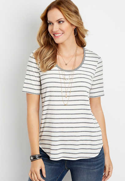 24/7 stripe print scoop neck tee